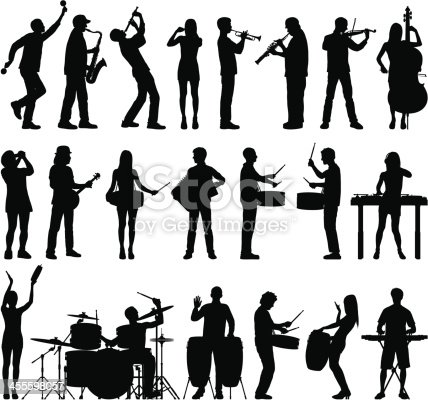 Highly detailed silhouettes of musicians. Zoom in to see the detail!