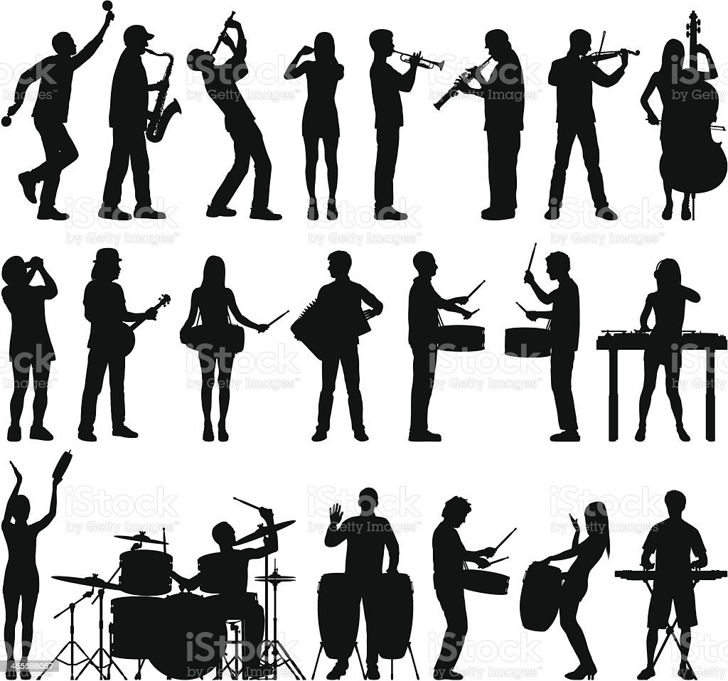 Many Musicians vector art illustration