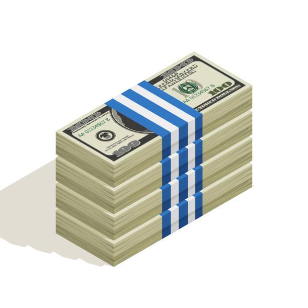 Viele Packungen mit Dollarnoten, Stapel von Banknoten, Haufen Geld, Papiergeld. Das Konzept der finanziellen Erfolg und Reichtum. Isometrische Vektor-Illustration isoliert auf weißem Hintergrund – Vektorgrafik