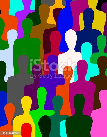 many people, crowd concept, color of inner world of each person, vector