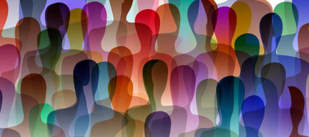 많은 사람들, 군중 개념, 각 사람의 내면 세계의 색상, 벡터 - diversity stock illustrations
