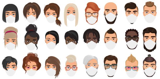 Many people in masks portraits character cartoon flat vector illustration set vector art illustration