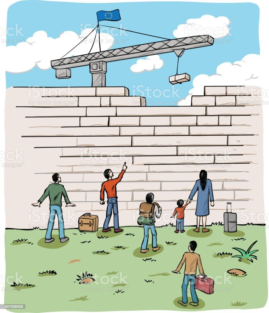 many people  refugees on a border wall with a crane and european flag vector art illustration
