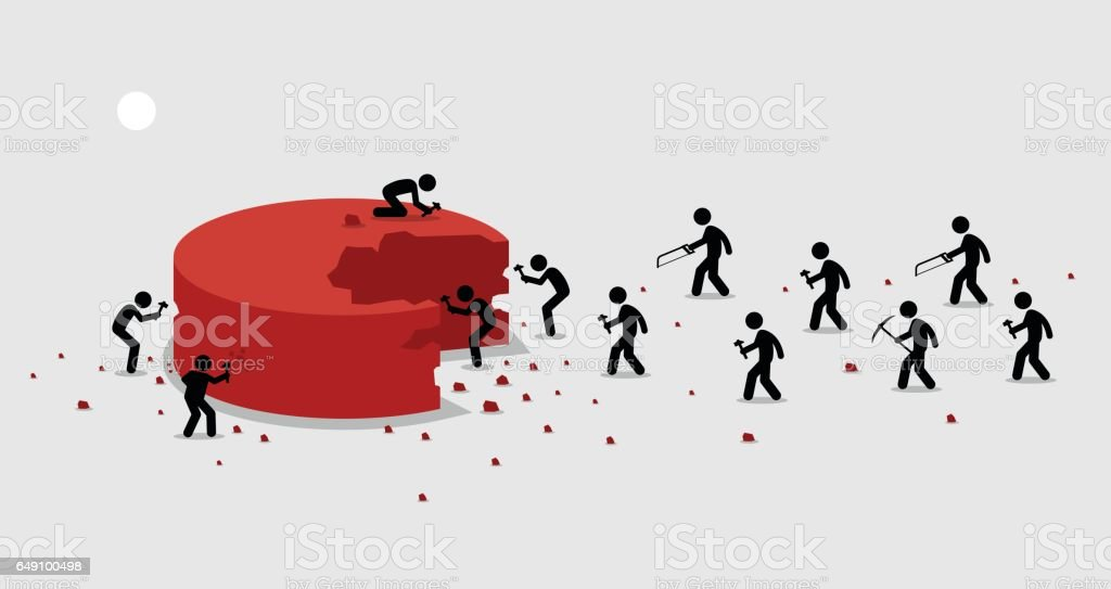 Many people rushing and scrambling to cut off a portion from a big piece of pie for themselves. vector art illustration