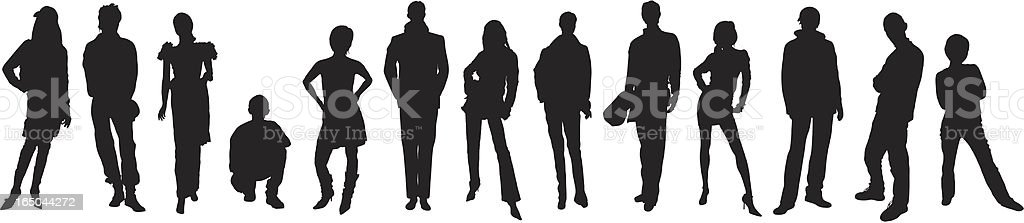 Many People vector art illustration