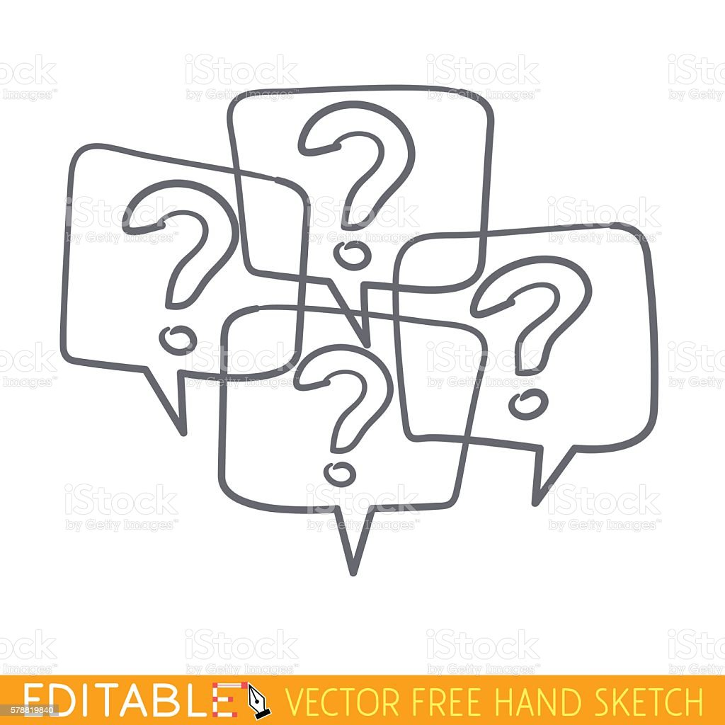 Many question icon. Editable vector grapfic in linear style vector art illustration