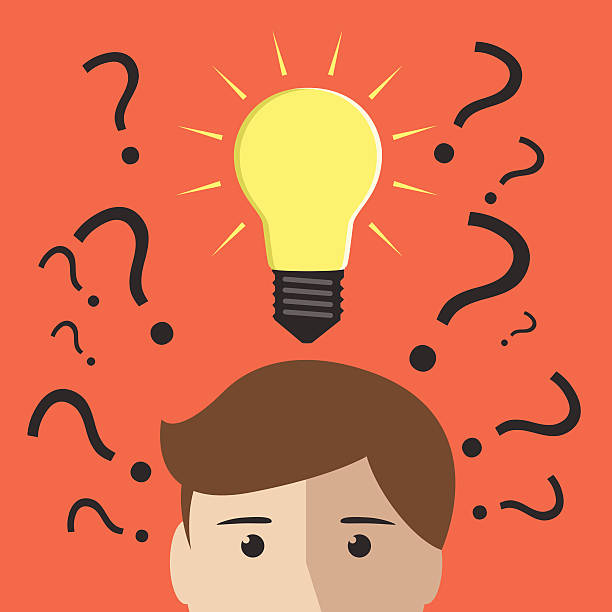 Many questions and insight Question marks and one glowing light bulb above head of young man or boy. Insight, inspiration, eureka, aha moment, making decision, thinking concept. EPS 10 vector illustration, no transparency aha stock illustrations
