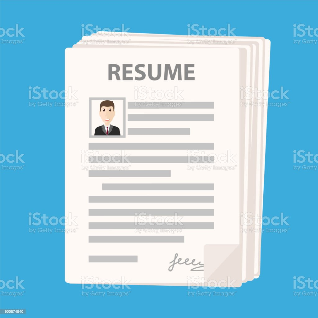 many resume forms icon on blue background cv application stack stock