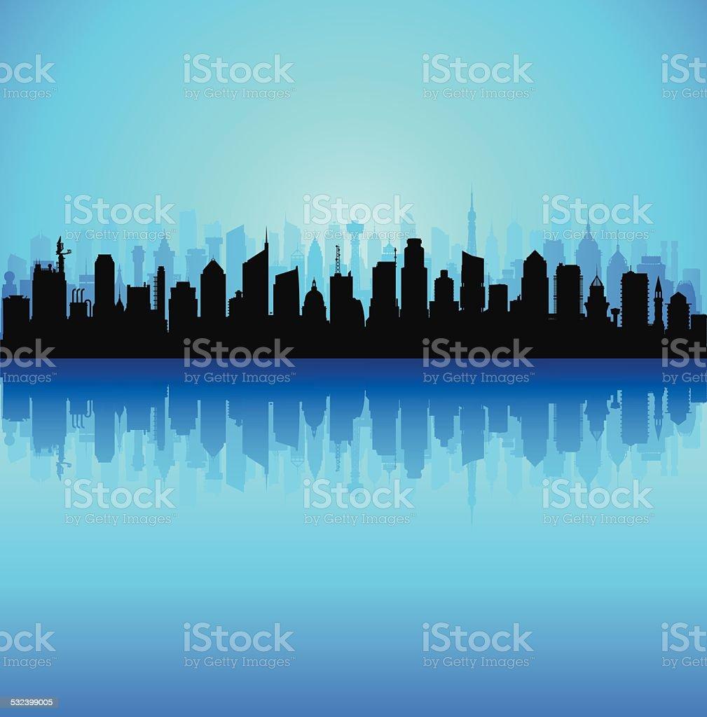 Many Separate Buildings vector art illustration