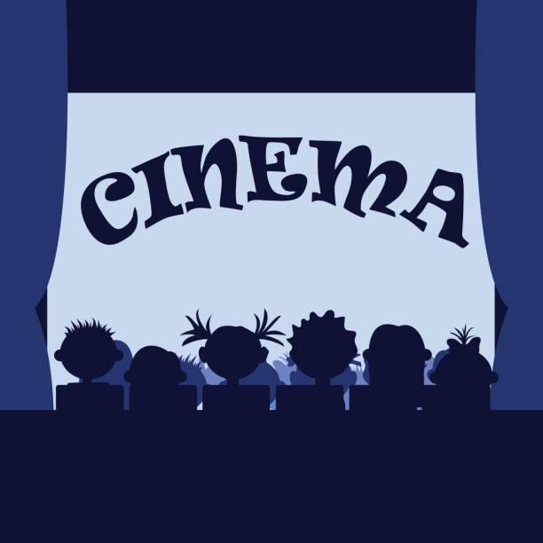 ilustrações de stock, clip art, desenhos animados e ícones de many small kids in the cinema. sitting in a row, silhouettes - tv e familia e ecrã