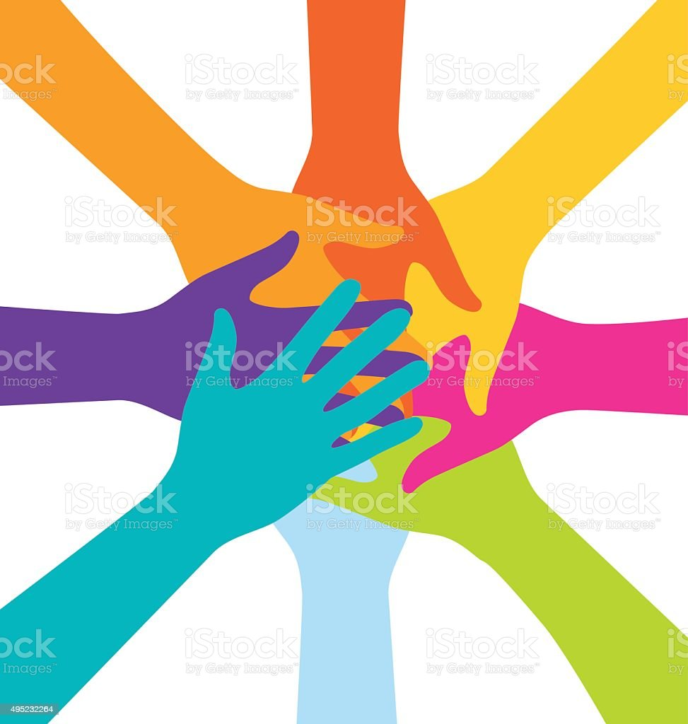 Many Teamwork People Join Colorful Hand vector art illustration