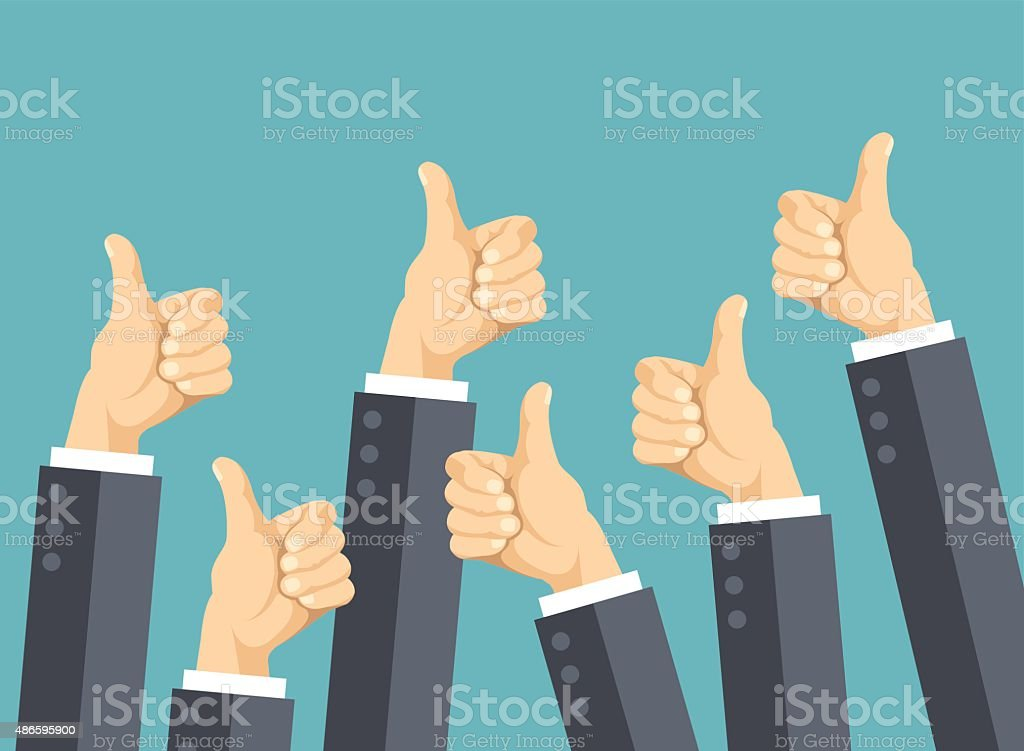 Many thumbs up. Social network likes, approval, customers feedback concept vector art illustration