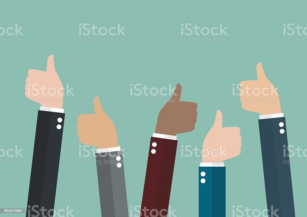 Many thumbs up vector art illustration
