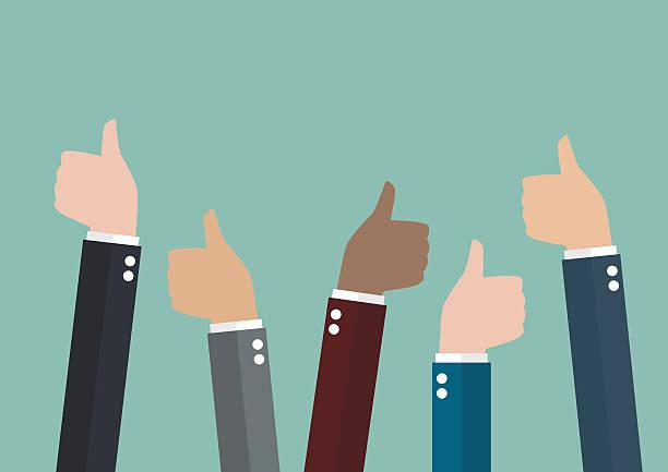 Many thumbs up vector art illustration