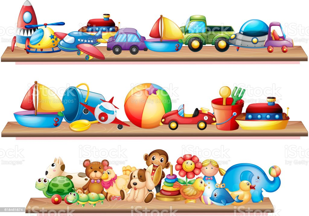 Wooden Toy Car Shelf : Many toys on wooden shelves stock vector art more images