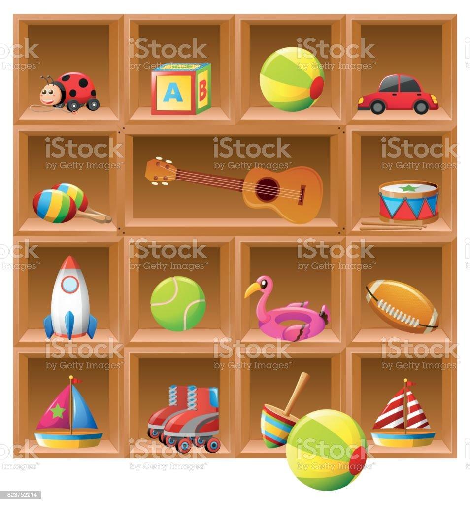 Many toys on wooden shelves vector art illustration