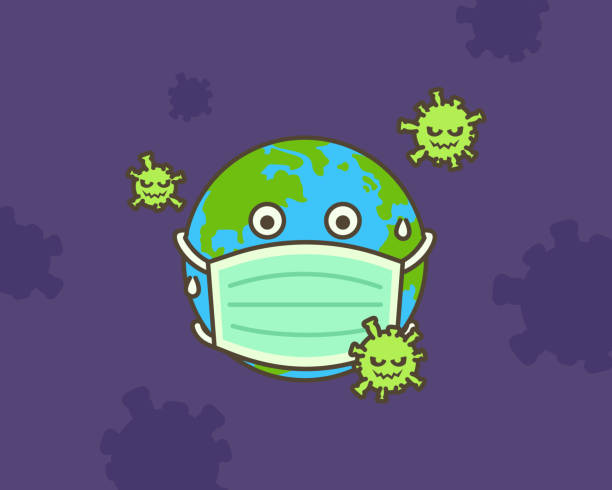 Many Virus attack.  The earth put mask to fight against Corona virus. Many Virus attack.  The earth put mask to fight against Corona virus. Concept of fight against virus. deathly stock illustrations