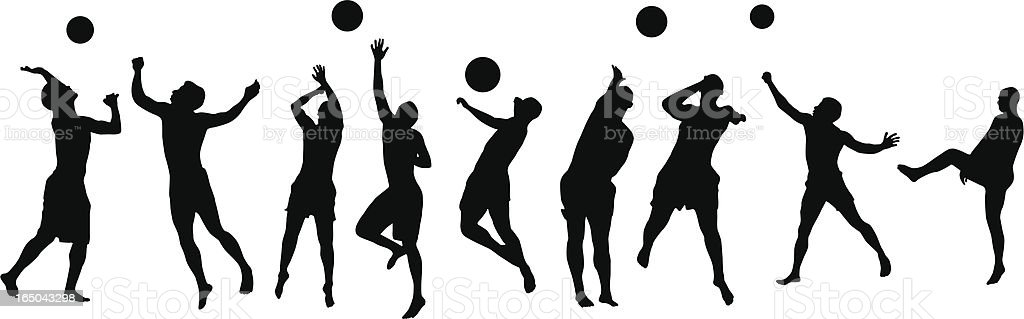 Many volleyball players royalty-free stock vector art