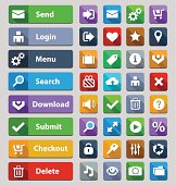 Many web design buttons in varying colors