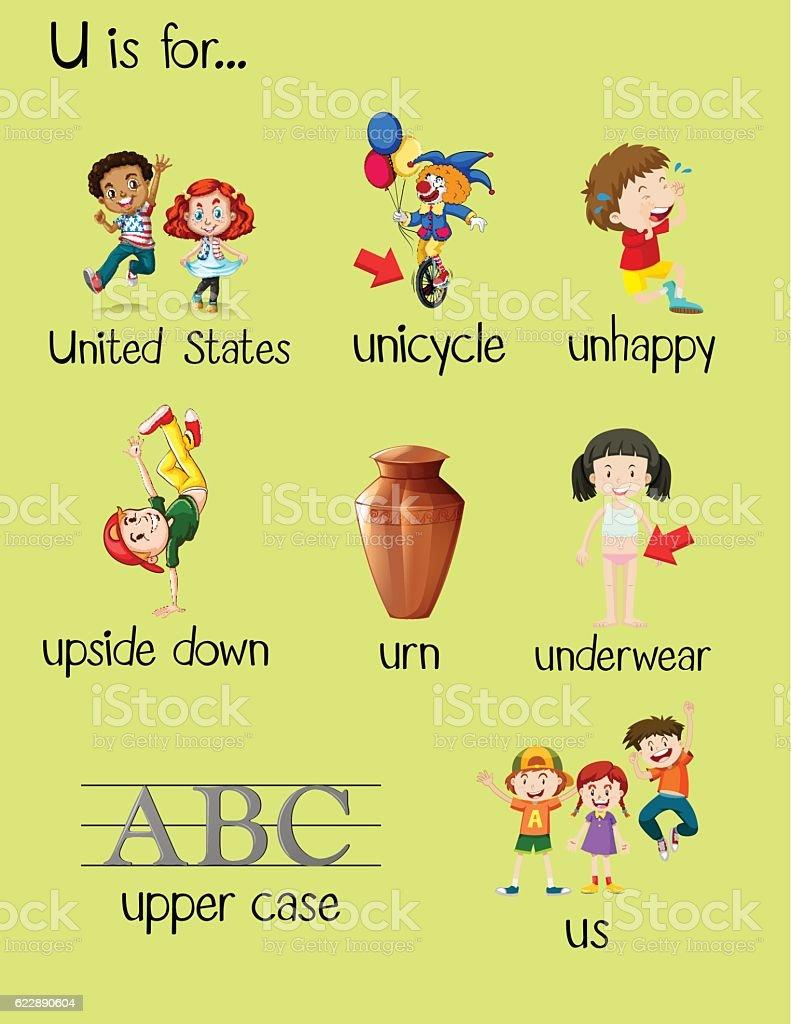 many words begin with letter u stock vector art more images of alphabet istock. Black Bedroom Furniture Sets. Home Design Ideas