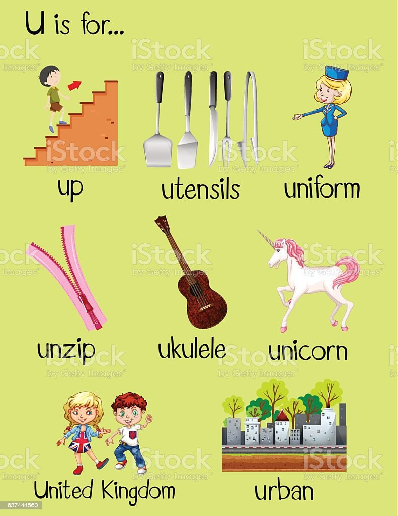 words that start with a for preschool many words begin with letter u stock vector amp more 425
