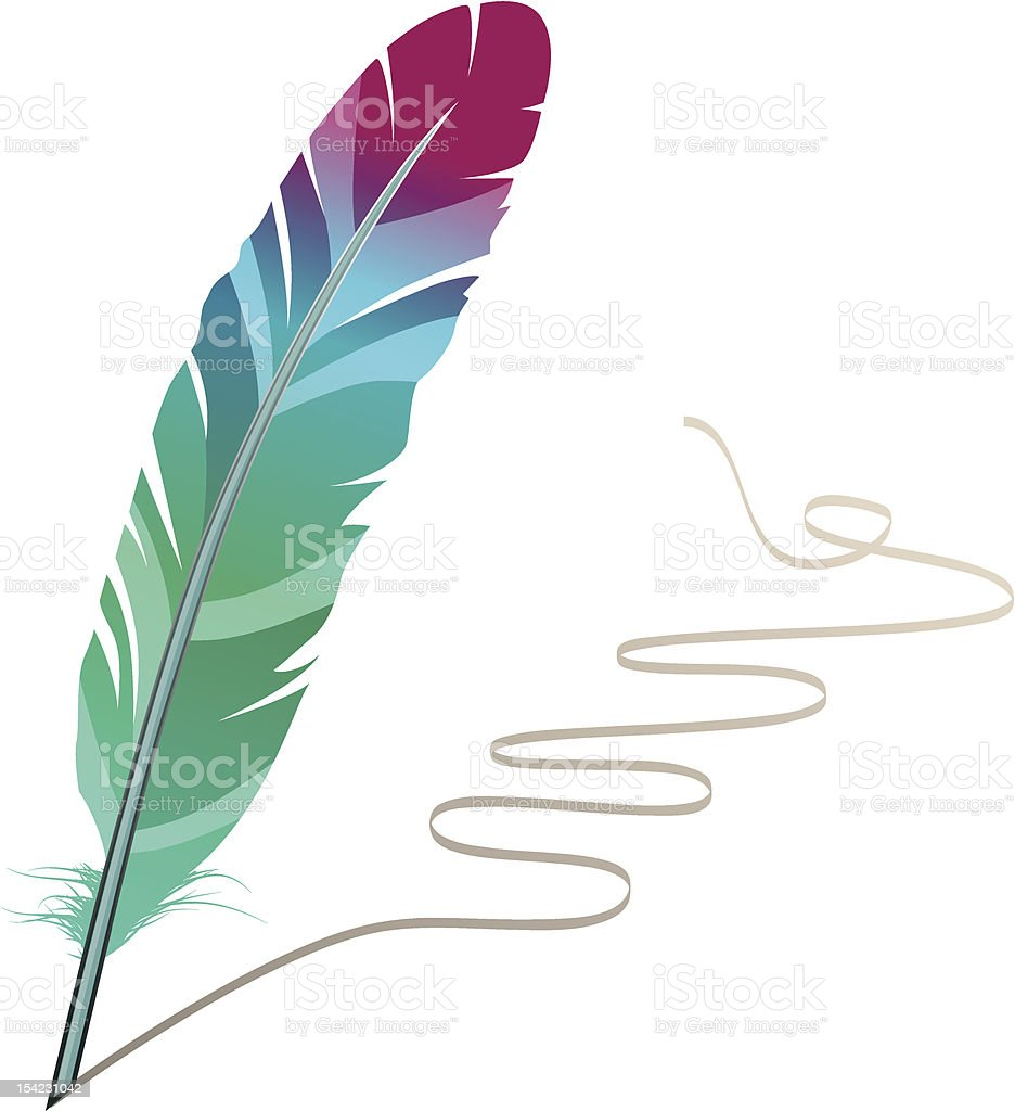 Many-coloured feather vector art illustration
