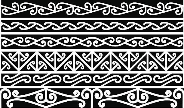 maori grenzen-new zealand - maori tattoos stock-grafiken, -clipart, -cartoons und -symbole