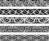 Kowhaiwhai Maori seamless patterns in black.