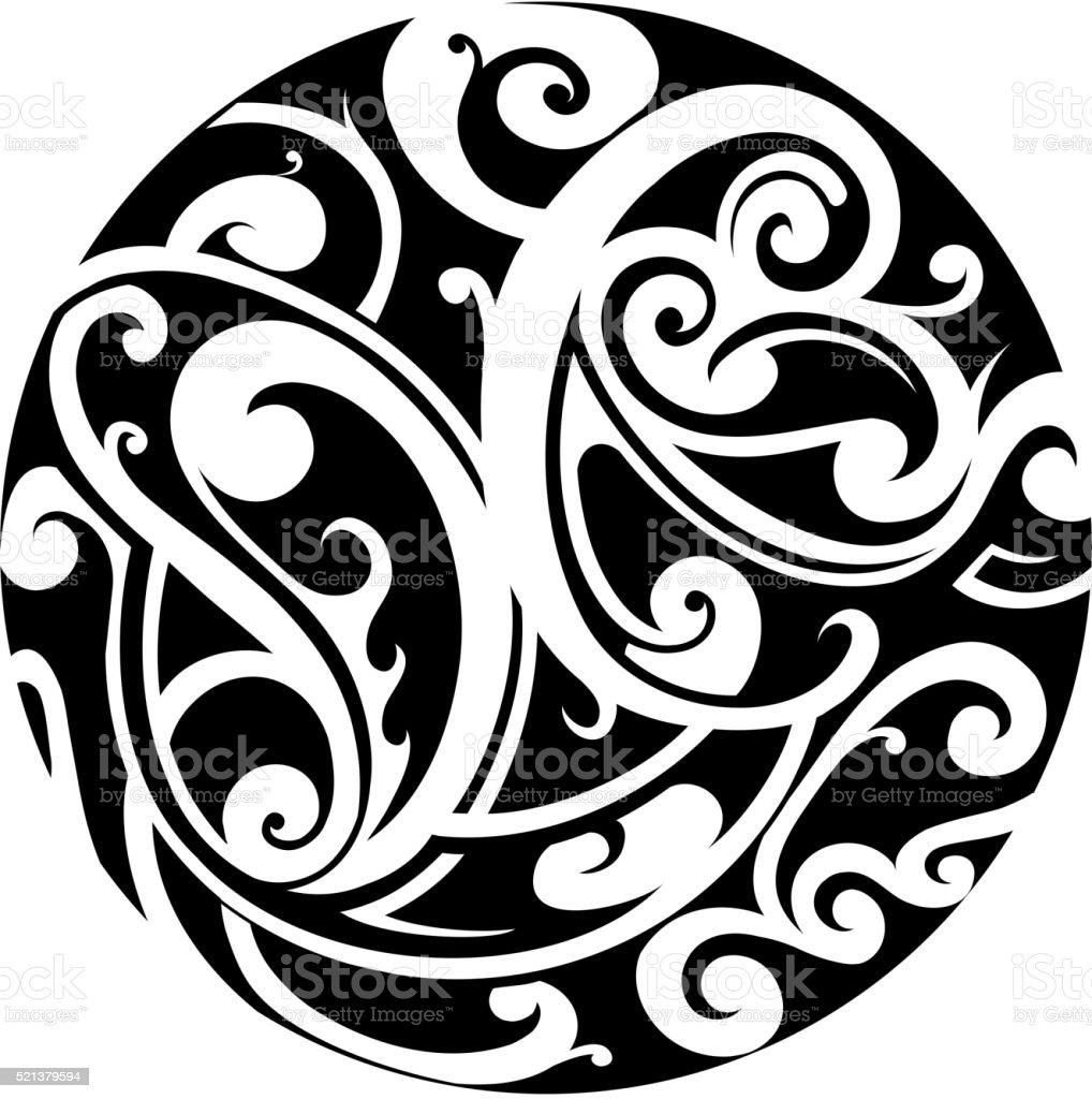 Maori Tattoo Design Stock Photos: Maori Circle Tattoo Stock Vector Art & More Images Of