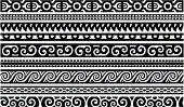 Maori style borders with seamlessly repeating patterns. All lines are isolated to easily select the one needed.