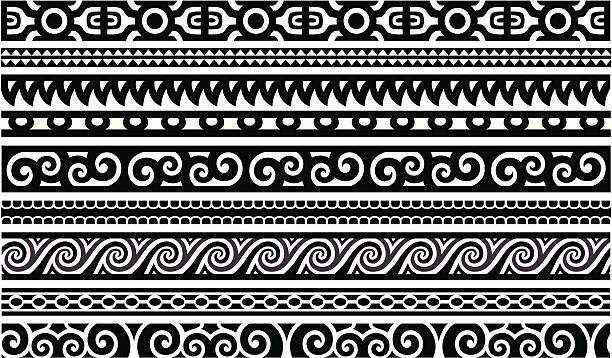 maori designs - borders - tribal tattoos stock illustrations, clip art, cartoons, & icons