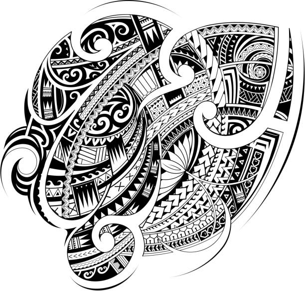 Maori ethnic style ornament. Good for sleeve and chest tattoo vector art illustration
