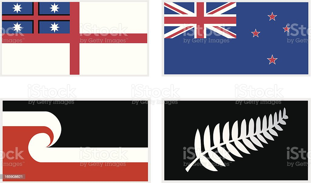 Maori Flags vector art illustration