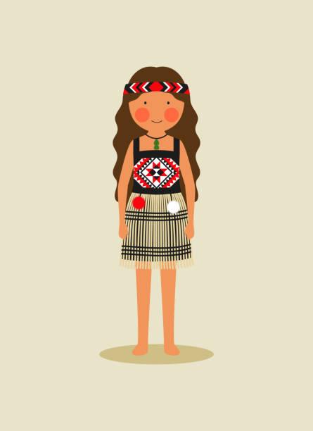 Maori indigenous costume for women vector art illustration
