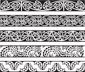 Five seamless Maori Kowhaiwhai designs in black.