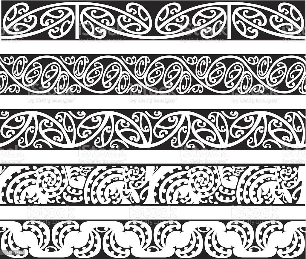 Maori Kowhaiwhai Seamless Designs vector art illustration
