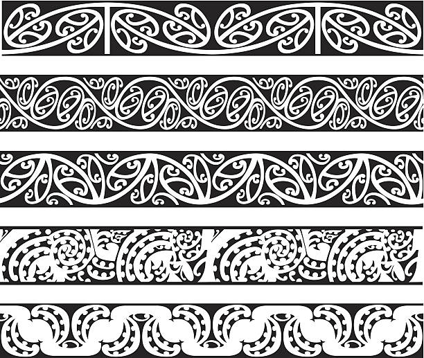 ilustraciones, imágenes clip art, dibujos animados e iconos de stock de maorí kowhaiwhai diseños perfectos - tatuajes tribales