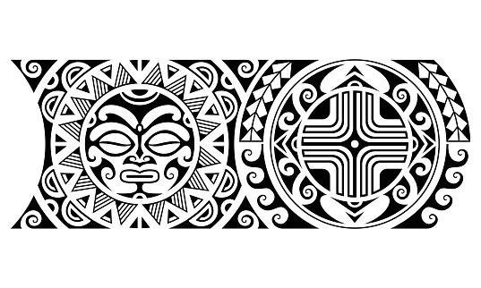 Maori polynesian tattoo border tribal sleeve seamless pattern vector with sun face. Samoan bracelet tattoo design fore arm or foot.