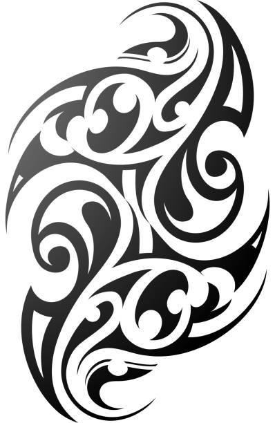 maori stil tattoo-ethnischen - maori tattoos stock-grafiken, -clipart, -cartoons und -symbole