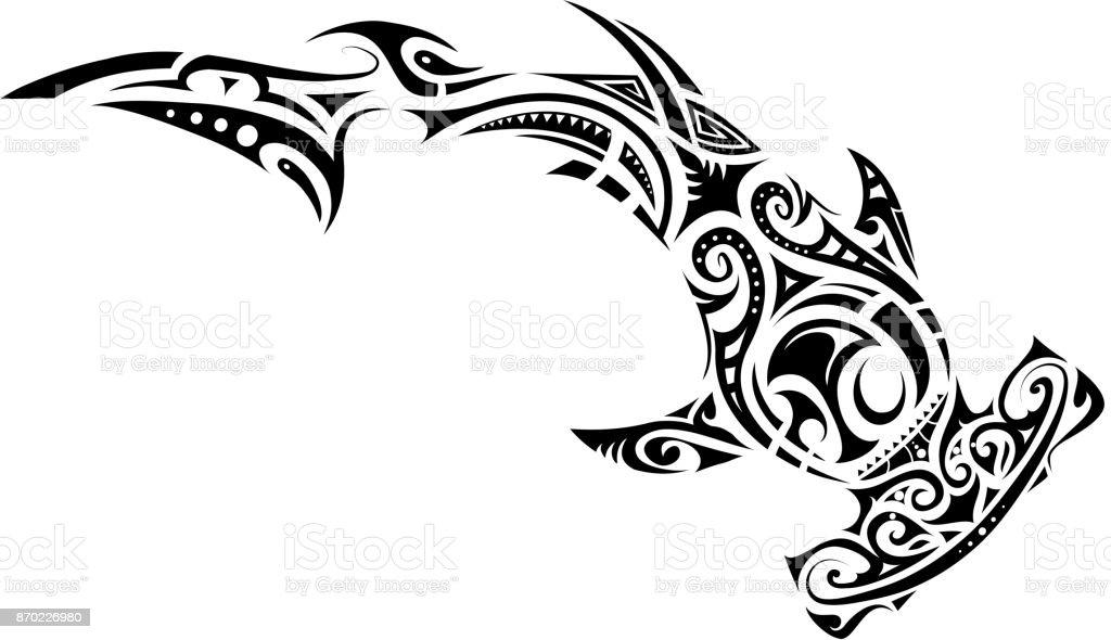 Maori style hammer shark tattoo stock vector art more - Modele dessin requin ...