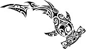 Maori style hammer shark tattoo