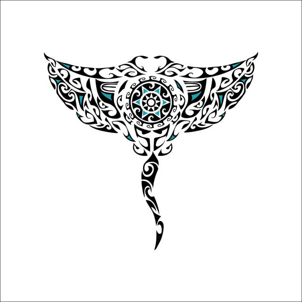 白い背景に分離されたマオリ スタイル マンタ - マリンのタトゥー点のイラスト素材/クリップアート素材/マンガ素材/アイコン素材