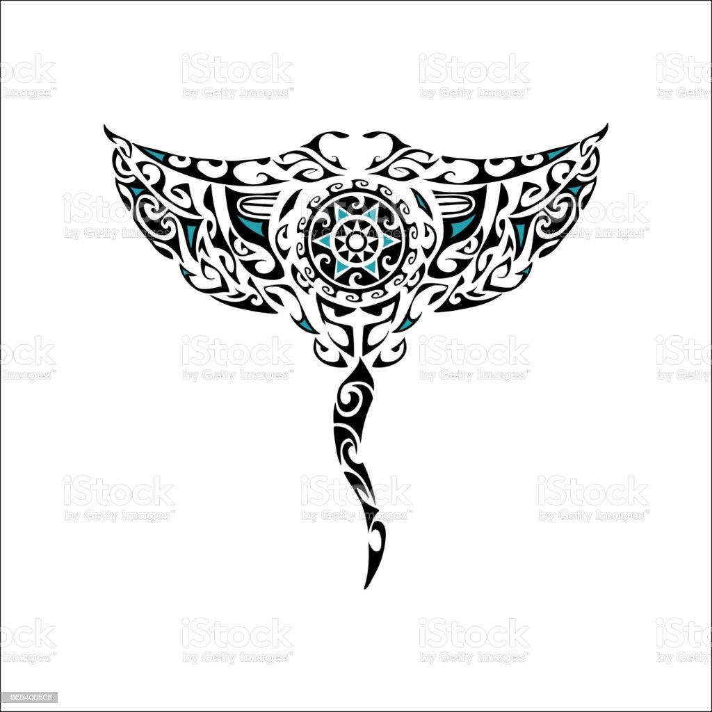 Maori style manta isolated on white background vector art illustration