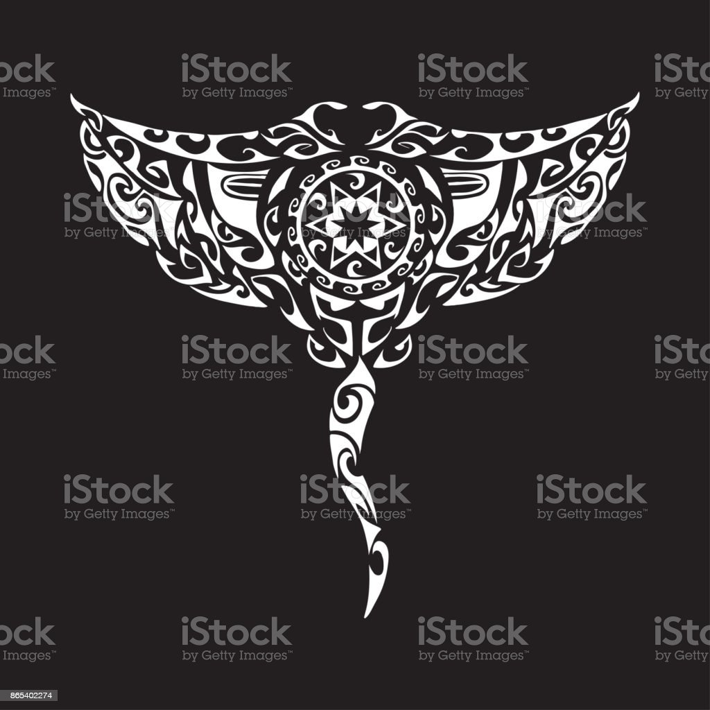 Maori style manta isolated vector art illustration