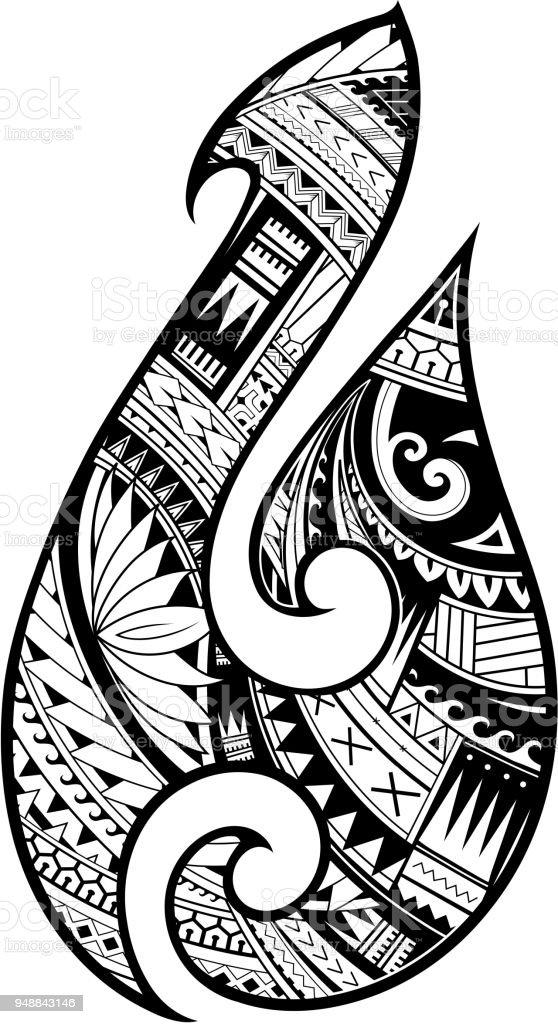 Maori Style Tattoo Aboriginal Fish Hook Symbol Stock Illustration