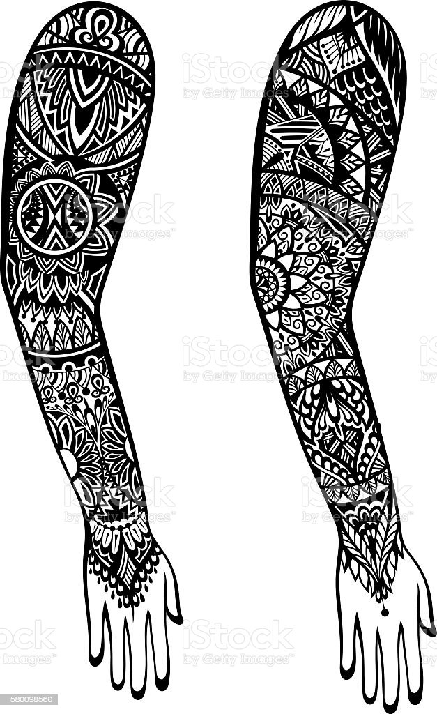 Maori style tattoo design stock vector art more images for Vector tattoo sleeve