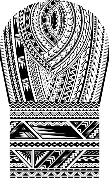 Maori style tattoo for bicep shoulder and sleeve area Maori tribal art pattern. Good for shoulder and sleeve area tattoo ornament maori tattoos stock illustrations