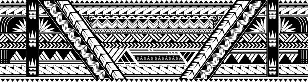 maori style tattoo ornament. good for sleeve pattern - tribal tattoos stock illustrations, clip art, cartoons, & icons