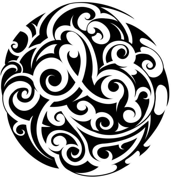 maori stil tattoo - maori tattoos stock-grafiken, -clipart, -cartoons und -symbole