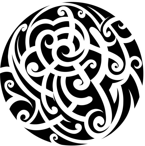 ilustraciones, imágenes clip art, dibujos animados e iconos de stock de tatuaje estilo maorí - tatuajes tribales